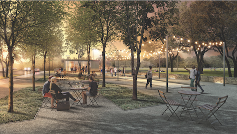 woodland-style park outdoor space at the Union Point master planned community outside of Boston
