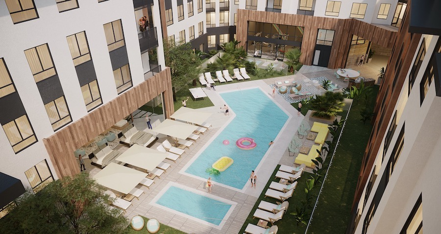 Pool and central courtyard at VRV, a 2020 BALA winner