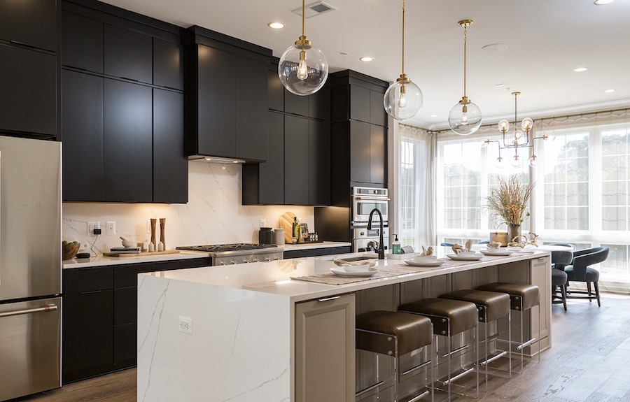 Plan 1 kitchen in the Valley & Park townhomes, a 2020 BALA winner