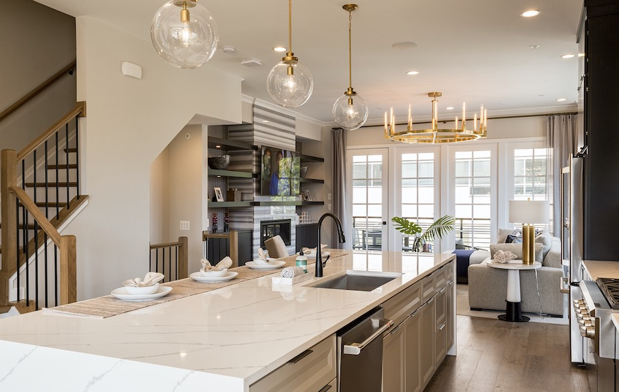 Plan 2 kitchen in the Valley & Park townhomes, a 2020 BALA winner