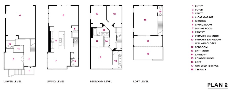 Plan 2 floor plans for Valley & Park townhomes, a 2020 BALA winner