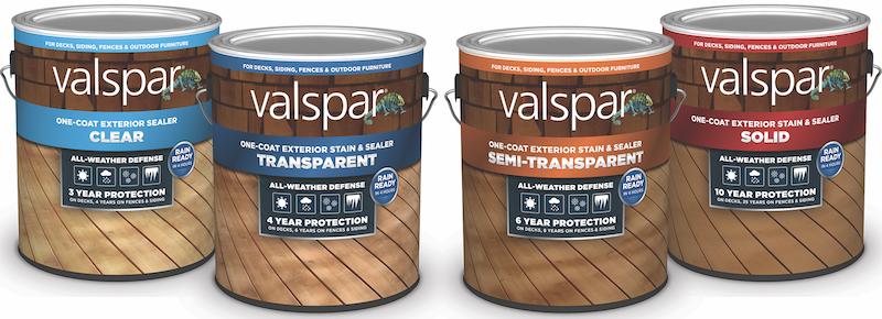 cans of Valspar exterior stains for decks and other exterior applications