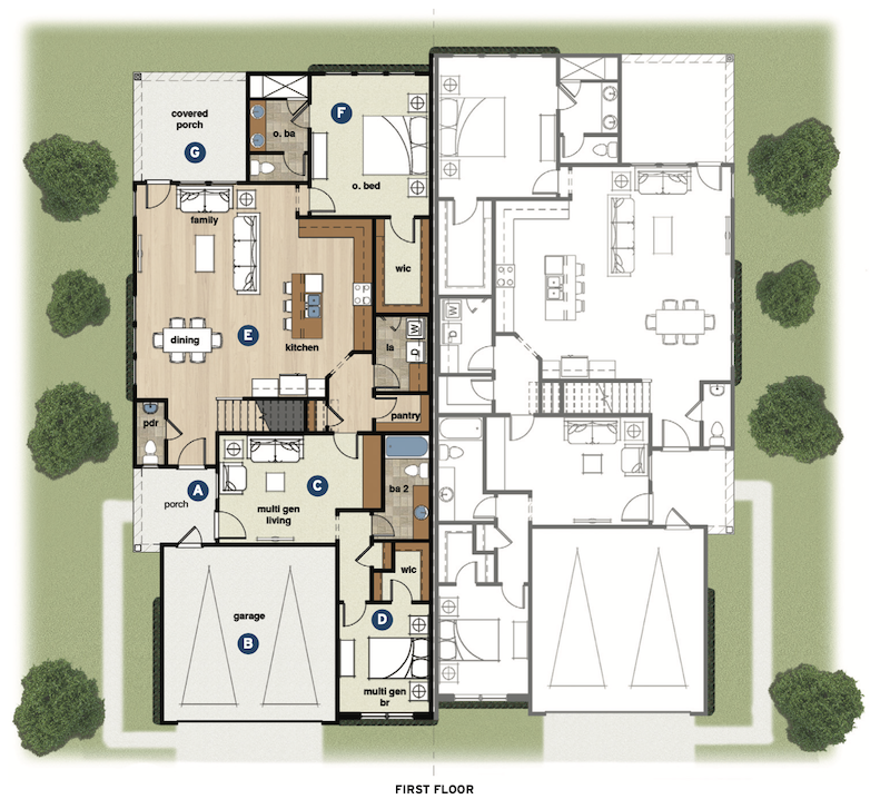 first floor plan of the Wellington Duplex multigenerational home design by GMD Design Group