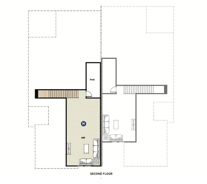 second floor plan for the Wellington Duplex multigenerational home design by GMD Design Group