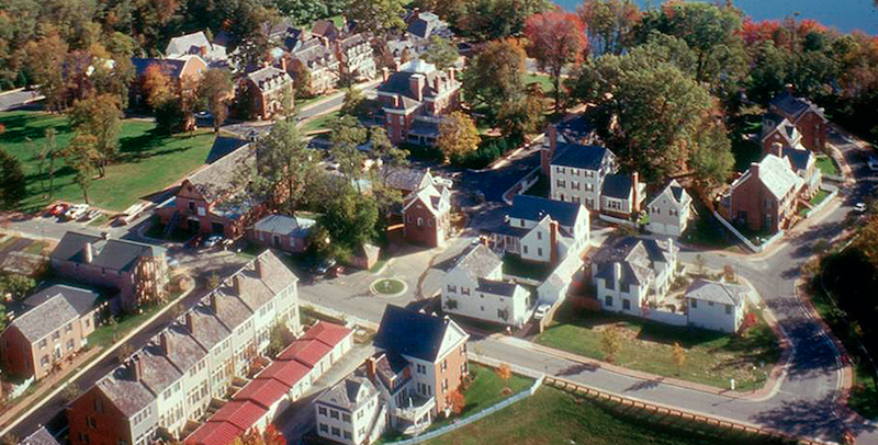 aerial view of the Kentlands community in Maryland, designed using principles of New Urbanism