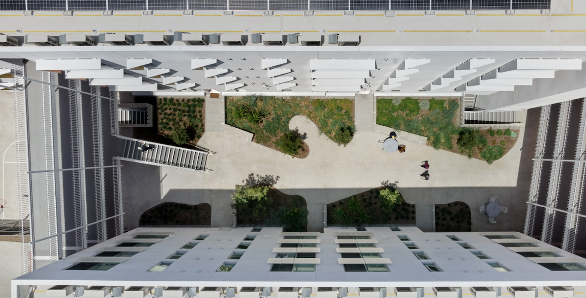Sky view of the Arroyo courtyard