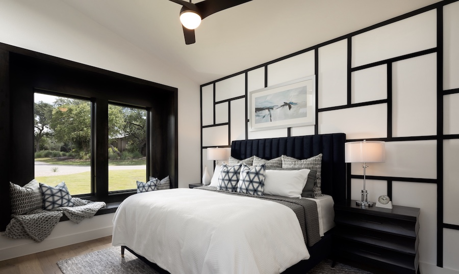Black and white graphic bedroom