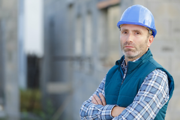 Builder Frowning