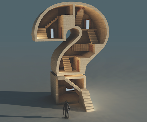 businessman planning for business succession looks into a questionmark filled with stairs to an unknown destination
