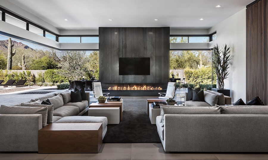 Clerestory windows with a fireplace in the living space