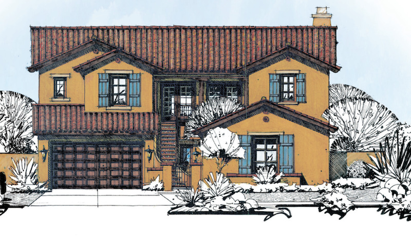 elevation of a prototype for 50-foot-wide-lot homes by Linderoth Associates