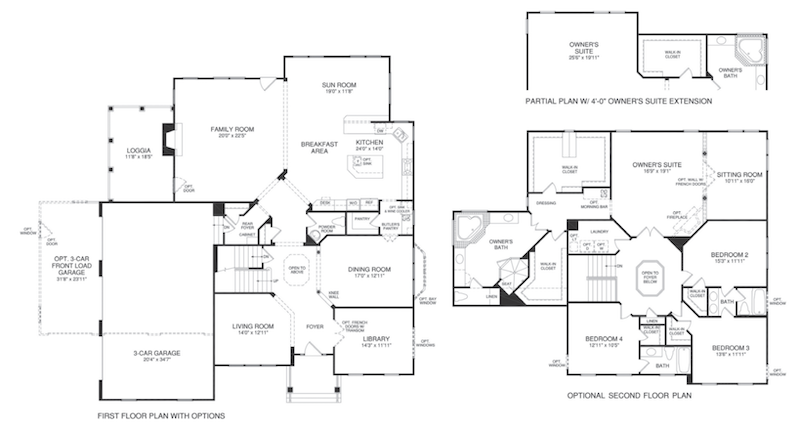 floor plans for the Montgomery model at Brightwell Crossing
