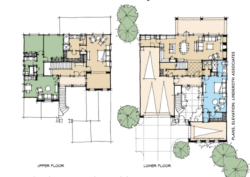 floor plans for a design prototype for 50-foot-wide lots by Linderoth Associates