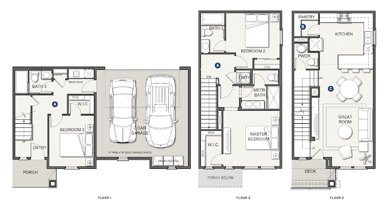 floor plans for three floors at infill housing development Nova at the Vale