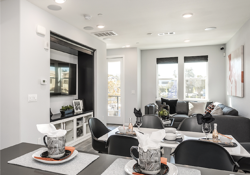 living-dining room interior at infill housing development Nova at the Vale