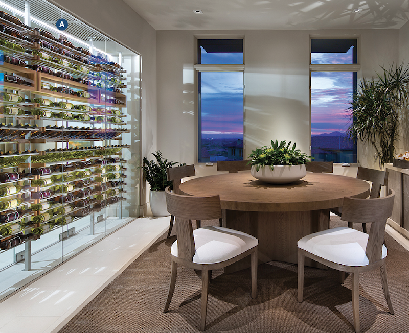 in-unit wine room at infill housing development Icon at SIlverleaf, plan 2