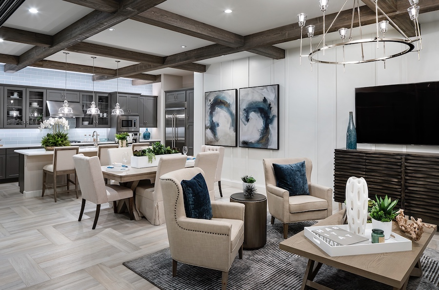 Modern farmhouse with blue hues in kitchen and living spaces