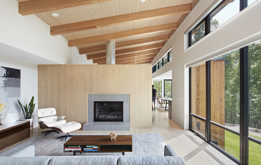 Clerestory windows in the living room of a modern home
