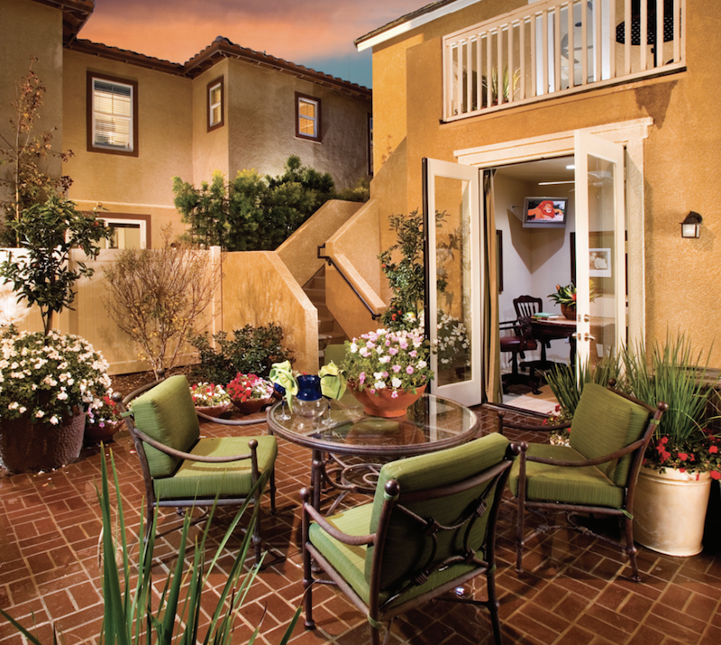 outdoor living Residence Two's courtyard at Celadon at RiverPark in Oxnard, Calif.
