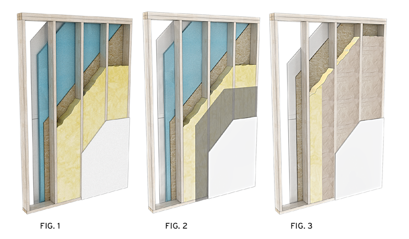 three wood-frame wall assemblies with different insulation and vapor retarding options