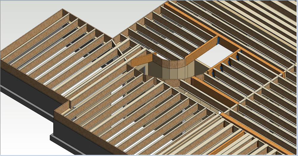 "In this illustration, the joists are designed at 19.2"" o.c. for a value-engineered solution.  This design uses LSL [Link: https://lpcorp.com/products/framing/lsl/] for stair openings and flush beams to reduce cost and may be suitable for a tract home. The floor performance could be improved by upgrading to a high-performance sub-floor."