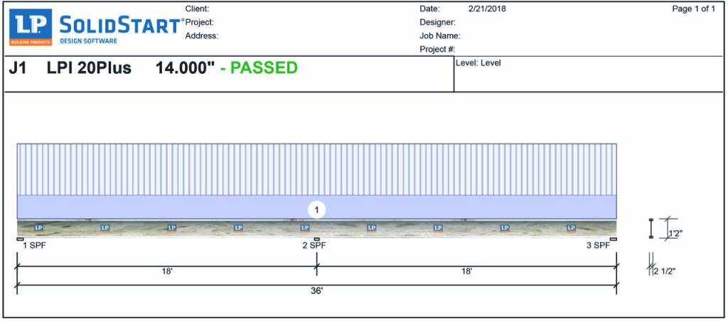 "Using software programs, dealers and builders can design the floor system to meet both code requirements and performance metrics. For example, this output shows a multi-span I-joist designed at 16"" o.c. which, coupled with a high-performance subfloor, would be suitable for a custom home application."