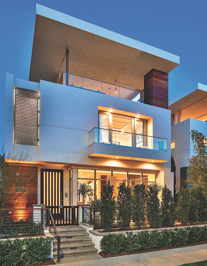 Robert Hidey Architects-Jewel at Playa Vista, Residence I-front elevation-photo courtesy Brookfield Residential
