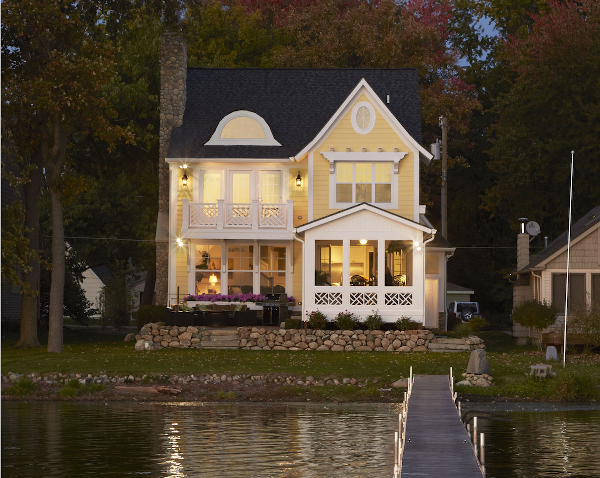 Amusing 20 narrow lot lake house plans design ideas of for Waterfront home plans
