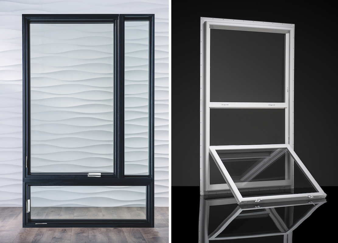 Pella Corporationu0027s Architect Series Wood Frame Casement Window (left)  Features A Black Finish And Polished Chrome Hardware. The 1620 Vinyl  Single Hung ...