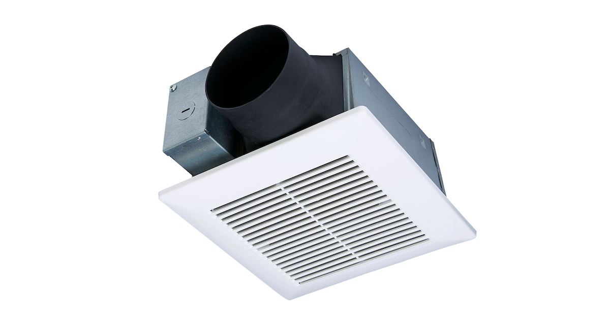 The EcoVent Energy Star–rated fan from Panasonic delivers air through a smaller  9 ½-inch-square grille size that blends into the ceiling
