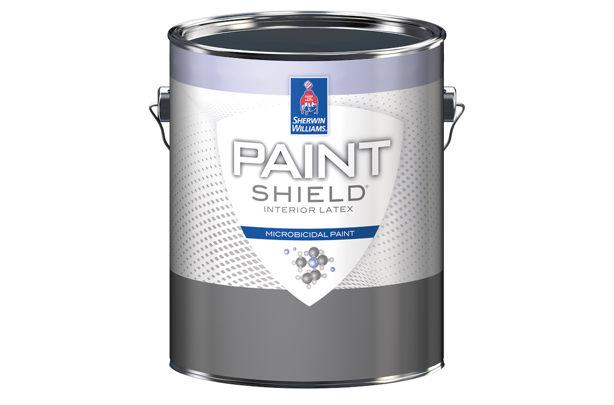 Sherwin-Williams' newer products include Paint Shield, an EPA-registered microbicidal paint, Emerald Matte and Satin interior latex paint, and Eminence ceiling paint