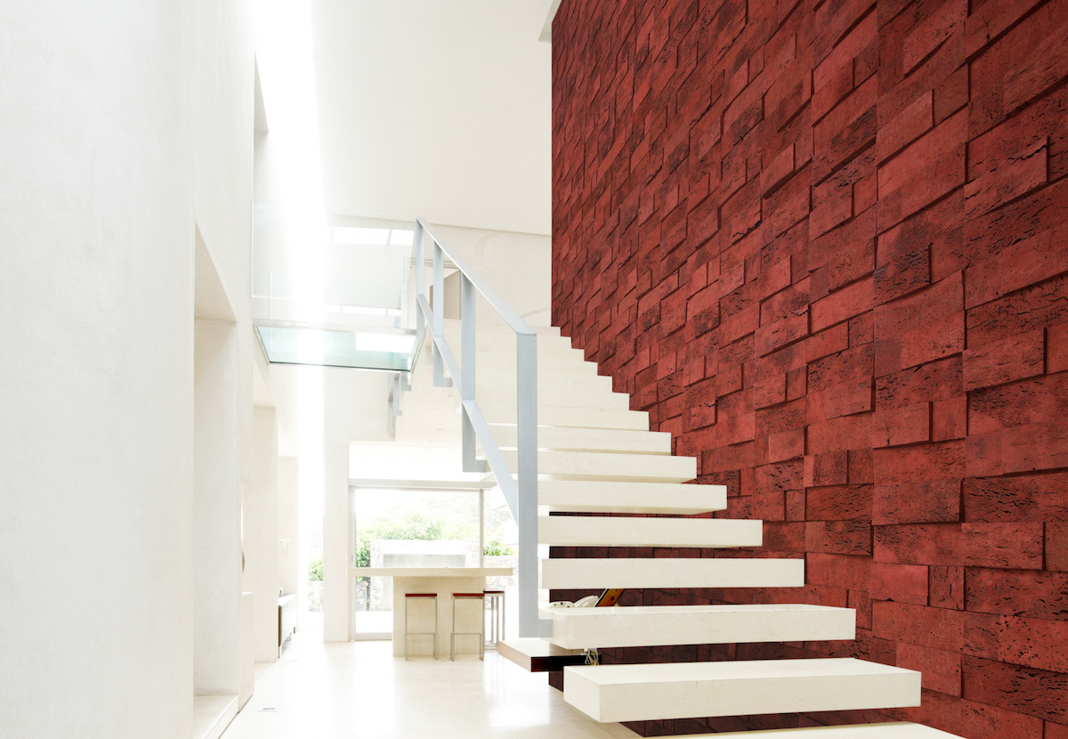 Cork Bricks from Sustainable Materials are three-dimensional pieces of cork bark that serve as wall décor