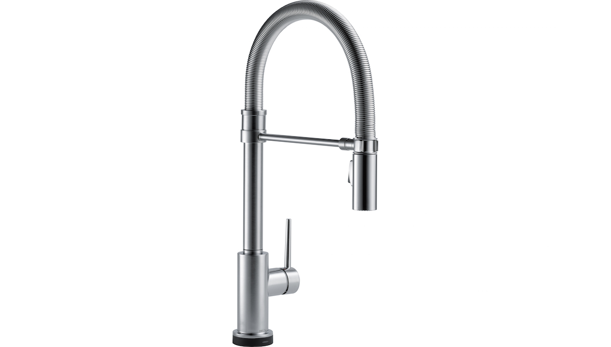 Several Delta faucets, including the Trinsic pull-down model, have Touch2O Technology, where a simple tap (much like the click of a mouse) on the handle or spout stops and starts the flow of water