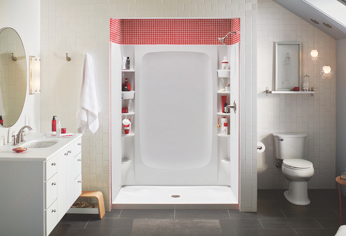 This bath/shower unit from Sterling, a Kohler company, contains abundant storage, with movable accessories such as deep bins, rimmed shelves, and soap dishes