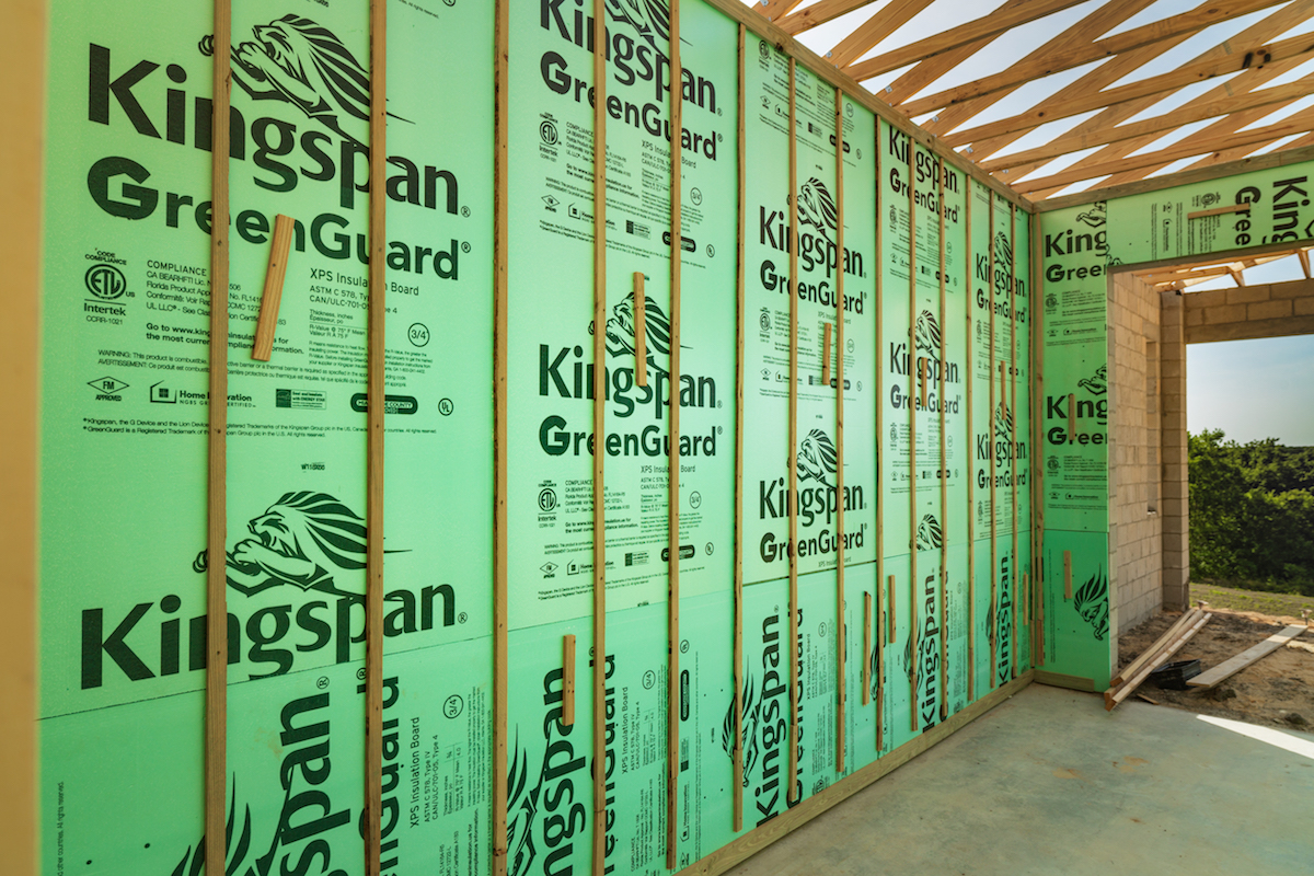 Kingspan's moisture-management products are offered through its GreenGuard family of products, which includes extruded polystyrene insulation board, air barrier building wraps, drainage mats, and flashing