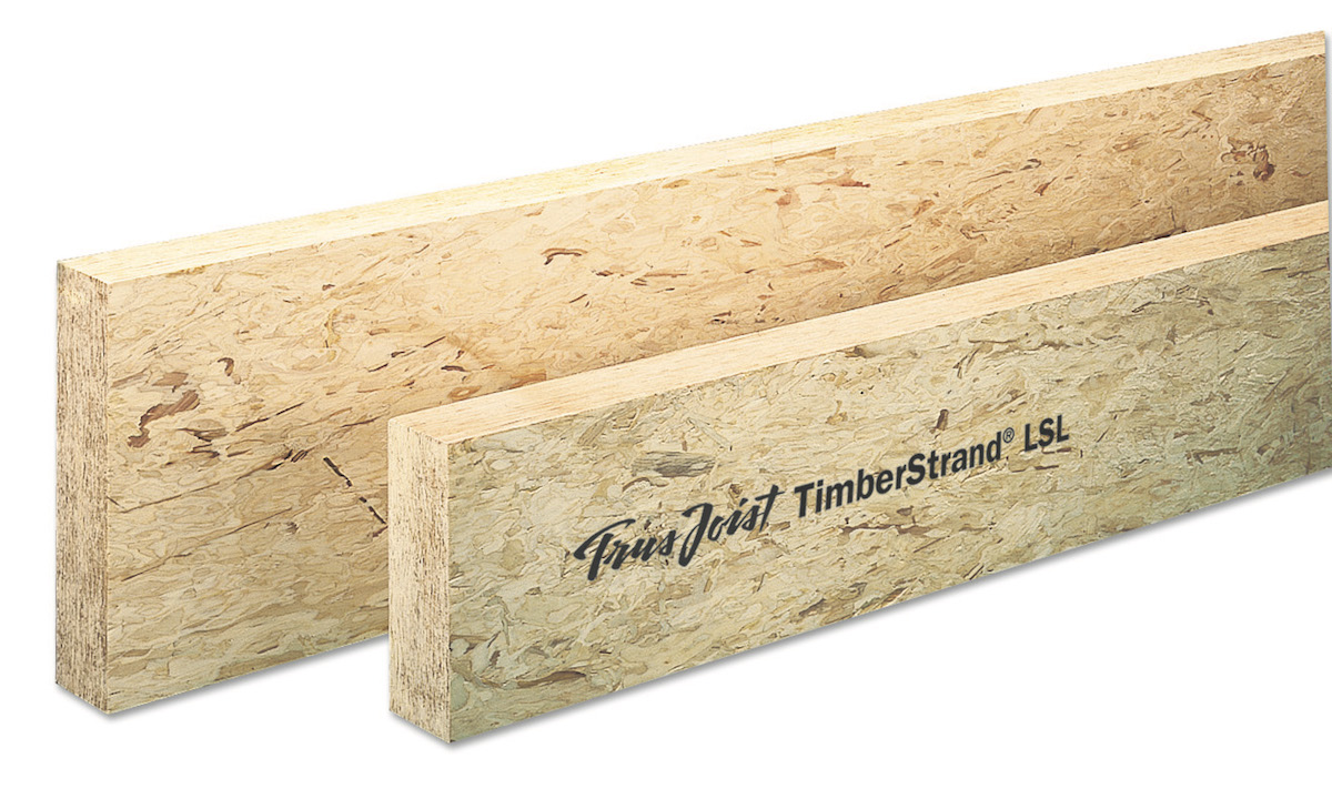 TimberStrand LSL from Weyerhaeuser is free of knots and resists twisting, shrinking, and bowing after installation
