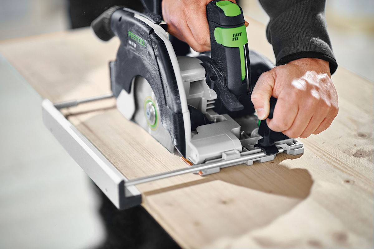 Festool's HK and HKC are equipped with plunge cutting for cutouts and easy depth control and release, and the integrated pendulum cover with riving knife automatically retracts when combined with FSK and FS rails for a fast return to cover position