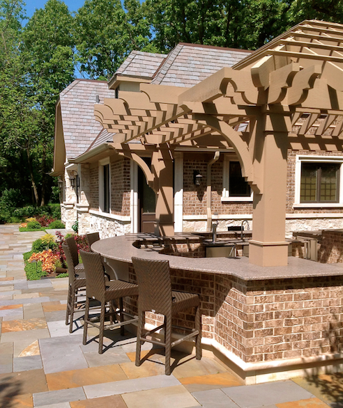 pergola provides outdoor shade-Hursthouse Landscape Architects and Contractors