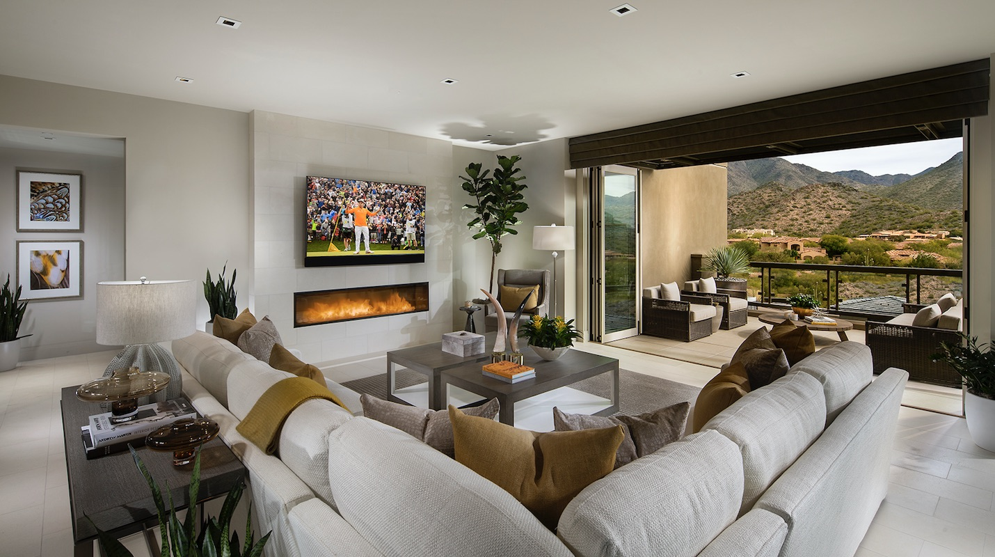 living room opens up to expansive desert views at infill housing project Icon at Silverleaf