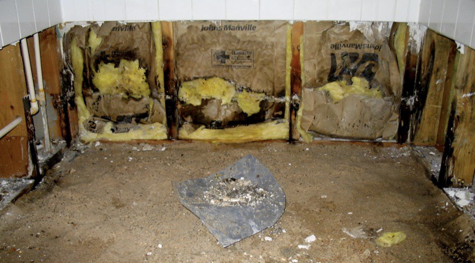 Mold remediation is needed for the mold in this home's walls and framing