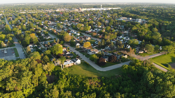 Neighborhood aerial with trees