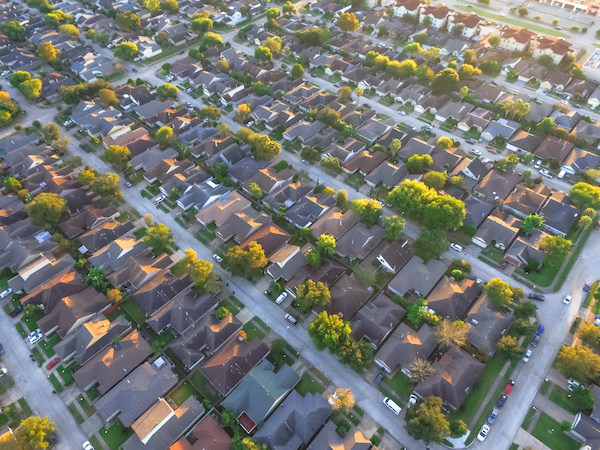 Residential neighborhood aerial