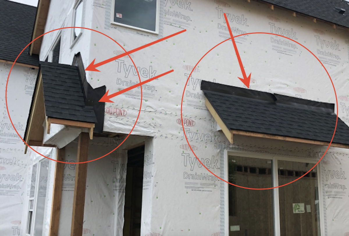 construction defects due to reverse lapping will allow water intrusion