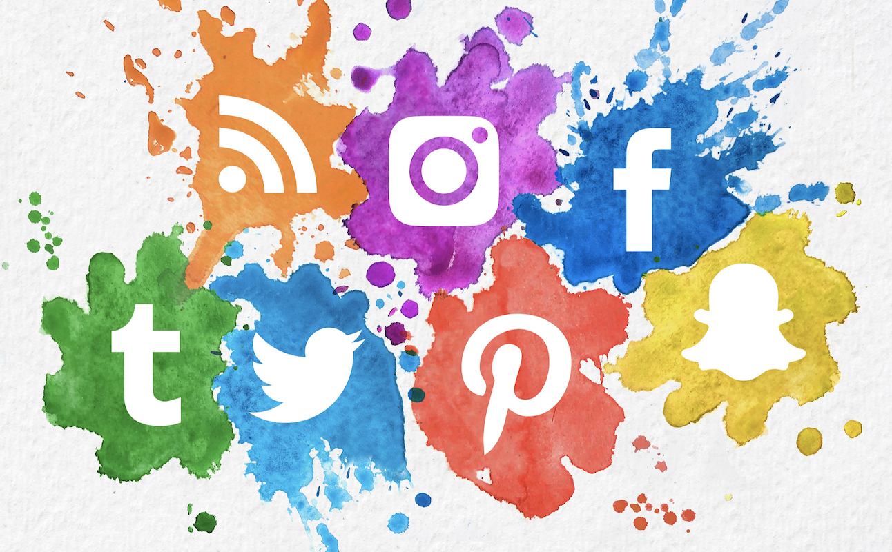 social media icons, including Pinterest, Facebook, Twitter, and more in watercolor