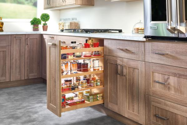 The 449 Series from Rev-A-Shelf includes the Bottom and Side Mount Soft-Close Base Organizer (shown), and the Bottom and Side Mount Soft-Close Utensil Bin Base Organizer. Featuring natural maple construction and Blum Tandem Soft-Close slides, the system is designed for 9-inch or 12-inch wide, full-height base cabinets, offers three shelf units, and is TSCA Title VI compliant.