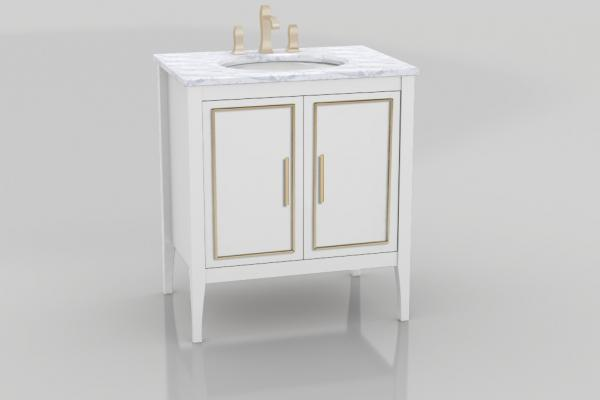 Three long drawer fronts with metallic trim cut an elegant figure in The Furniture Guild's latest transitional vanity, Lydia. With double drawer pullouts hidden behind non-sink doors and a third pullout for added storage, the vanity is sized from 24 to 72 inches wide in single- or double-bowl configurations, with optional glass dividers and LED lights.