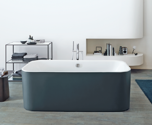 Duravit D2 Plus collection of bathtubs-Graphite Super Matt finish shown