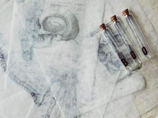 "Renderings of skulls with test tubes that say ""BOO"""