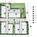 Three-story townhomes site plan designed by Kevin L. Crook Architect