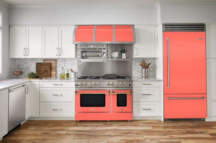 Showcasing its color-matching prowess, BlueStar's full kitchen appliance suite is now available in a brilliant hue inspired by Pantone's 2019 Color of the Year, Living Coral.